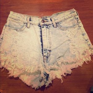 Cutoff high waisted acid wash shorts , raw edge